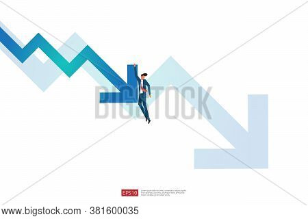Business Finance Crisis Concept With Business Man Character. Money Fall Down With Arrow Decrease Sym