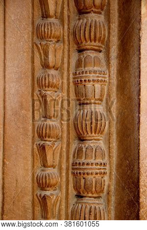 Close-up Of Beautiful Carving On Stone Door Frame At Gwalior Fort In Gwalior, Madhya Pradesh, India,