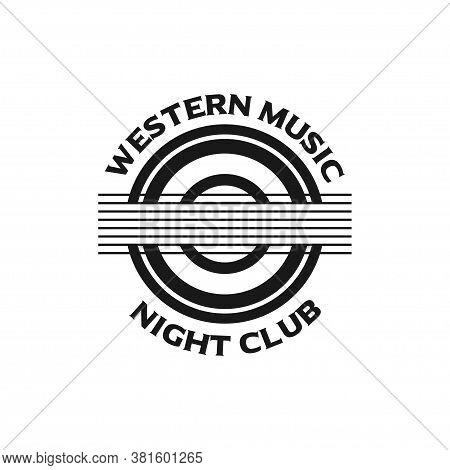 Music Nightclub Guitar Seal Logo Design Vector Illustration
