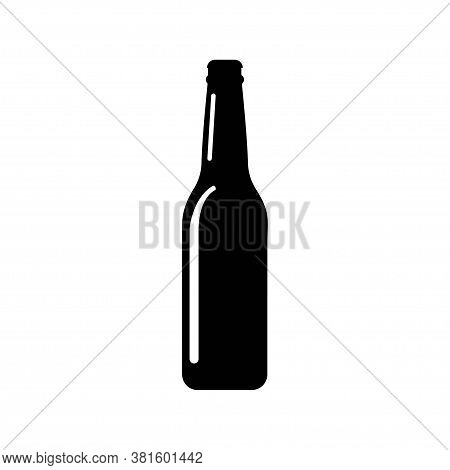 Beer Bottle Icon In Flat Style. Alcohol Bottle Illustration On White Isolated Background. Beer, Vodk