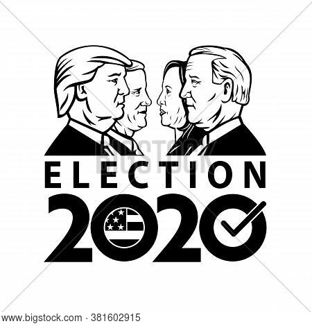 Aug 19, 2020, Auckland, New Zealand: Illustration Of American Presidential Election 2020 Showing Rep