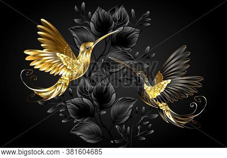 Black And Gold Jewelry Hummingbirds On Gray Background Decorated With Plants. Jewelry Birds.
