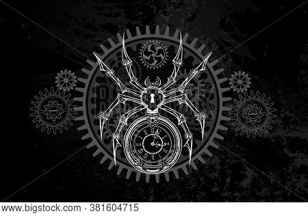 Contour, White, Contour, Schematic, Mechanical Spider With Dial And Keyhole On Dark Grunge Backgroun