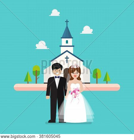 Wedding Ceremony At Church. Wedding Couple Are Standing In Front Of Church. Vector Illustration
