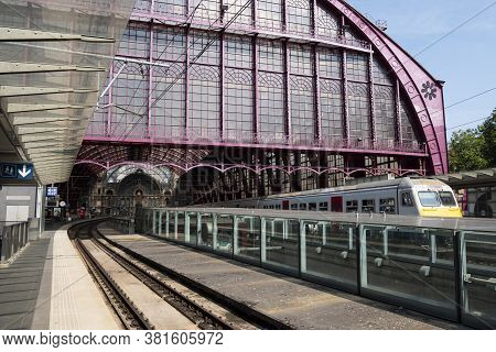 Antwerp, Belgium, August 16, 2020, Train Departs From The Central Station