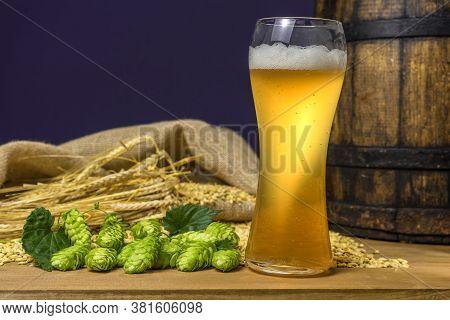 Beer. Still Life With Vintage Beer Barrel And Glass Light Beer. Fresh Amber Beer Concept. Green Hop