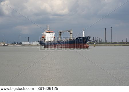 Doel, Belgium, 03 August, 2020, Paksoy 1 Is A Cargo Containership And Is Sailing Under The Flag Of T