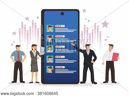 Business People With Customer Stars Review Mobile App Feedback. Concept Of Customers Satisfaction, C