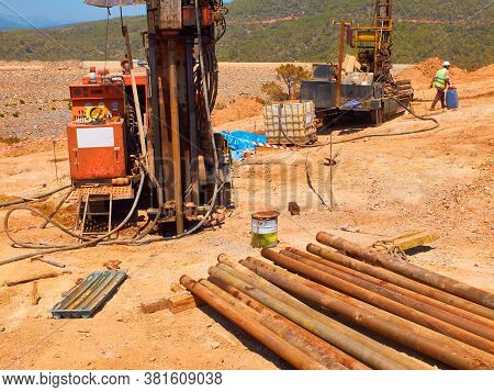 Crawler Drilling Rigs Perform Engineering And Geological Surveys