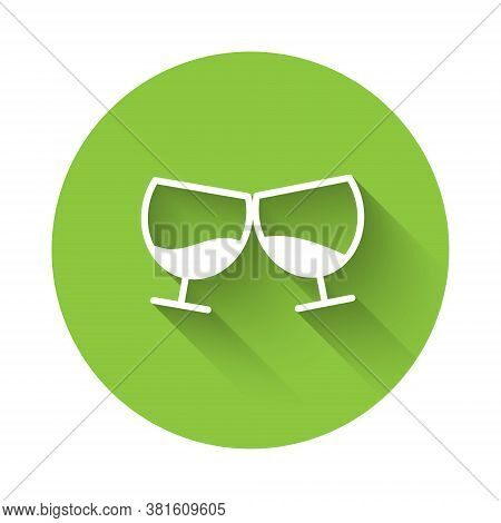 White Glass Of Cognac Or Brandy Icon Isolated With Long Shadow. Green Circle Button. Vector Illustra