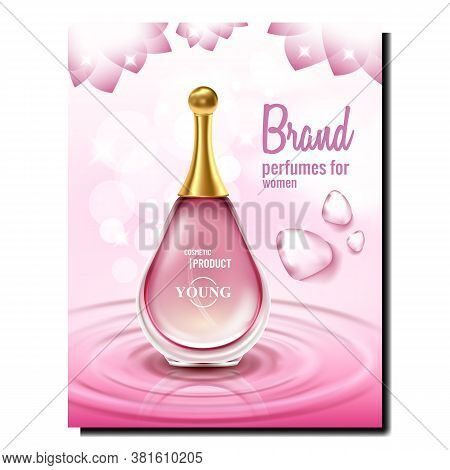 Aromatic Perfumes For Women Promo Poster Vector. Blank Glass Bottle, Fashion Essence Perfumery Cosme