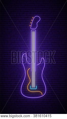 Neon Guitar Sign. Light Neon Signboard. Glowing Rock Guitar Icon On Dark Brick Wall Background. Vect