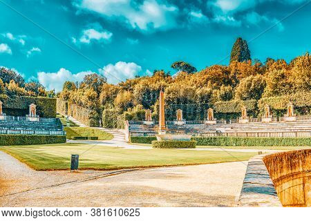 Boboli Gardens (giardino Di Boboli)  In Florence - City Of The Renaissance On Arno River. Italy.