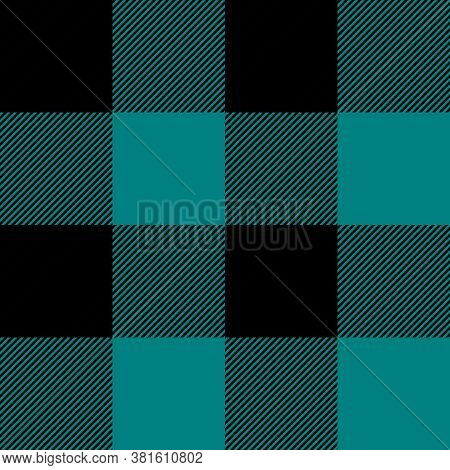 Tartan Plaid. Scottish Pattern In Black And Teal Cage. Scottish Cage. Traditional Scottish Checkered