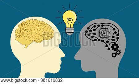 Thinking And Idea Concept With Robot And Human Head, Artificial Intelligence (ai) Concept.