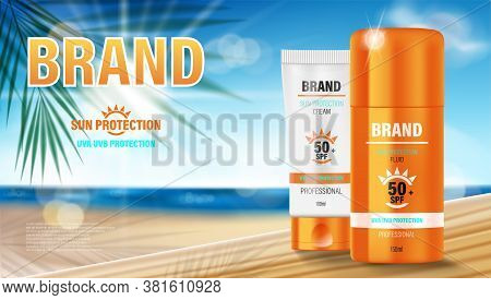 Sun Protection, Sunscreen And Sunblock Design Template. Cosmetic Products Ads With Summer Palm Leave