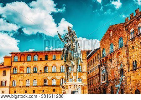 Equestrian Statue On Cosimo ( Statua Equestre Di Cosimo I) On Square Of Signoria (piazza Della Signo