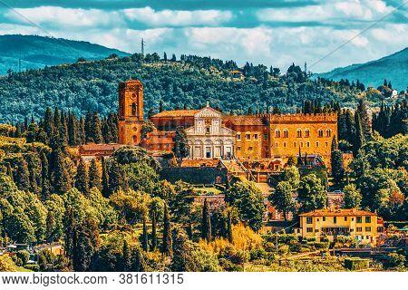 Basilica Di San Miniato (abbazia Di San Miniato Al Monte) A Basilica In Florence, Standing Atop One