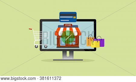 Shopping Online App, Shopping On Website, Ecommerce, Shopping Online And Digital Marketing Concept.