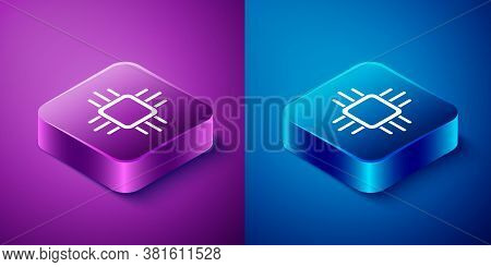 Isometric Computer Processor With Microcircuits Cpu Icon Isolated On Blue And Purple Background. Chi