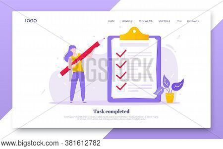 Online Survey Form Business Concept With Tiny Person With Pencil Nearby Giant Clipboard, Complete Ch