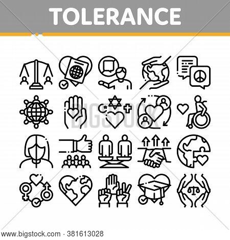 Tolerance And Equality Collection Icons Set Vector. Tolerance For Different Religion And Race, Peopl