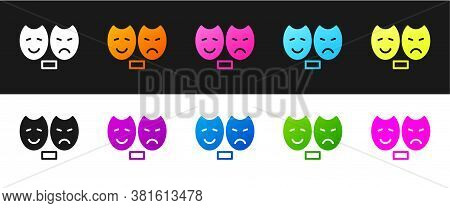 Set Comedy And Tragedy Theatrical Masks Icon Isolated On Black And White Background. Vector