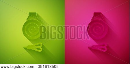 Paper Cut Classic Dart Board And Arrow Icon Isolated On Green And Pink Background. Dartboard Sign. G
