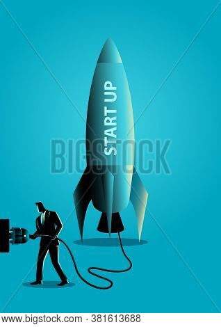 Business Concept Vector Illustration Of A Businessman Plugging In A Start Up Rocket