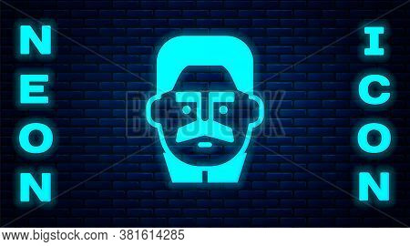 Glowing Neon Portrait Of Joseph Stalin Icon Isolated On Brick Wall Background. Vector