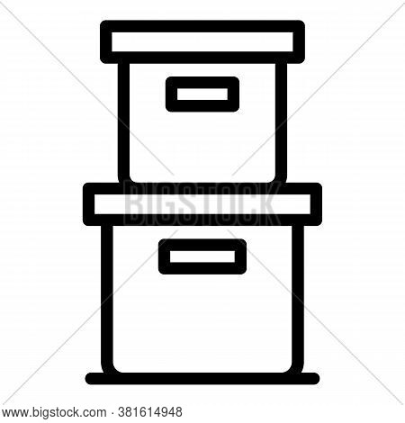 Archive Boxes Icon. Outline Archive Boxes Vector Icon For Web Design Isolated On White Background