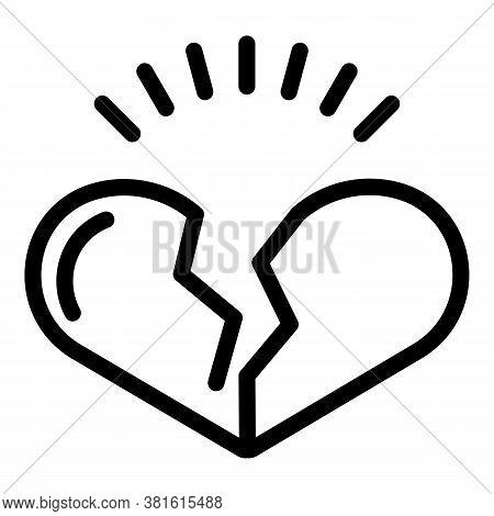 Heartbroken Icon. Outline Heartbroken Vector Icon For Web Design Isolated On White Background