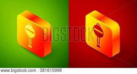 Isometric Rattle Baby Toy Icon Isolated On Green And Red Background. Beanbag Sign. Square Button. Ve