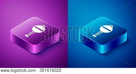 Isometric Rattle Baby Toy Icon Isolated On Blue And Purple Background. Beanbag Sign. Square Button.