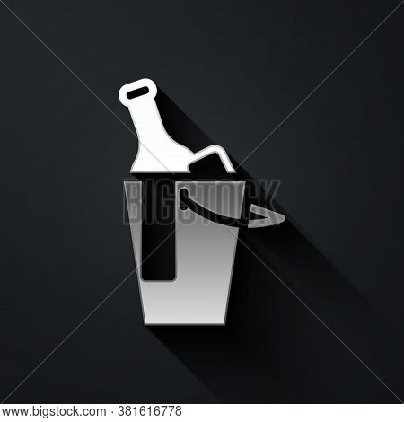 Silver Bottle Of Wine In An Ice Bucket Icon Isolated On Black Background. Long Shadow Style. Vector
