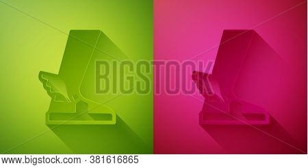 Paper Cut Hermes Sandal Icon Isolated On Green And Pink Background. Ancient Greek God Hermes. Runnin