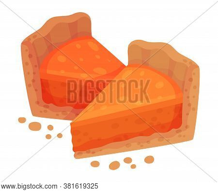 Pieces Of Baked Pumpkin Pie With Whipped Cream On Top As Thanksgiving Day Attribute Vector Illustrat