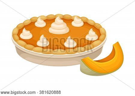 Baked Pumpkin Pie With Whipped Cream On Top As Thanksgiving Day Attribute Vector Illustration