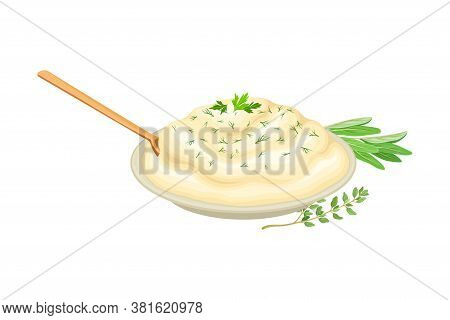 Mashed Potato In Bowl Garnished With Herbs As Thanksgiving Day Attribute Vector Illustration