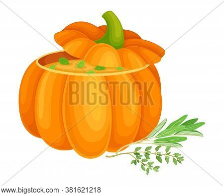 Pumpkin Porridge Served In Squash And Garnished With Herbs As Thanksgiving Autumnal Holiday Dish Vec