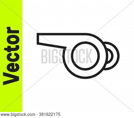 Black Line Whistle Icon Isolated On White Background. Referee Symbol. Fitness And Sport Sign. Vector