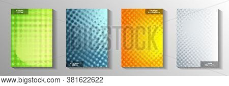 Creative Dot Faded Screen Tone Cover Page Templates Vector Set. Medical Booklet Perforated Screen To