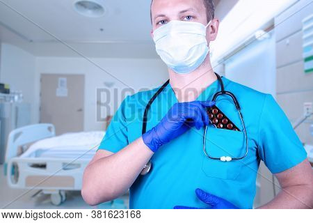 Doctor Puts A Blister With Tablets In His Pocket. Blister Medical Pills For Sexual Dysfunction. Prev