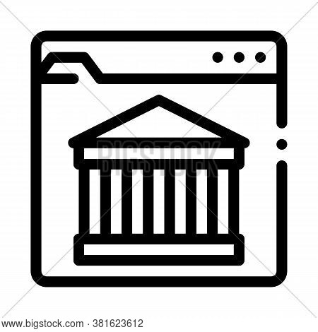 Ancient Building On Web Site Icon Vector. Ancient Building On Web Site Sign. Isolated Contour Symbol