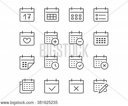 Calendar Thin Line Icon. Minimal Vector Illustration. Included Simple Outline Icons As Schedule, Rem