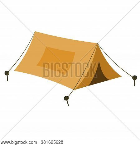 Tent For Camping And Outdoor Recreation Isolated On A White Background. Vector Illustration In A Fla