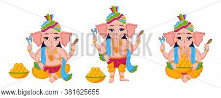 Illustration Of Lord Ganesha Set For Indian Festival Of Ganesha Chaturthi On White Background.