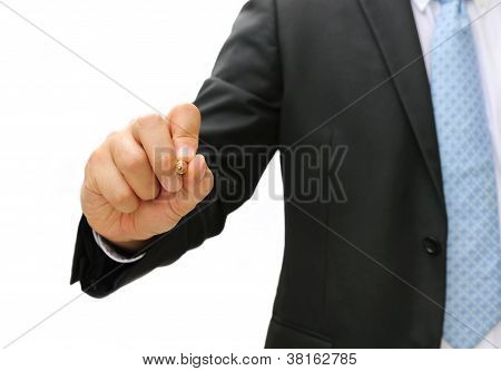 Business Man Hand Writing Something