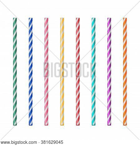 Straight Drink Straw Pipe Set. Realistic Vector Design. Beverage Decoration Accessory. Alcoholic Or