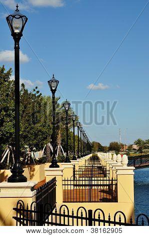 Lamposts Along A Walkway